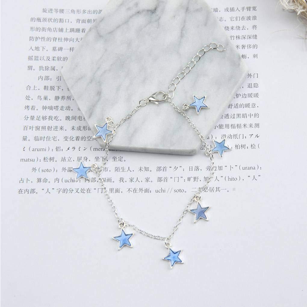 Kakiyi Frauen Blaue leuchtende Pentagram-Form-Anh/änger Ankelt M/ädchen F/ünf-Punkte-Stern-Art-Fuss-Ketten