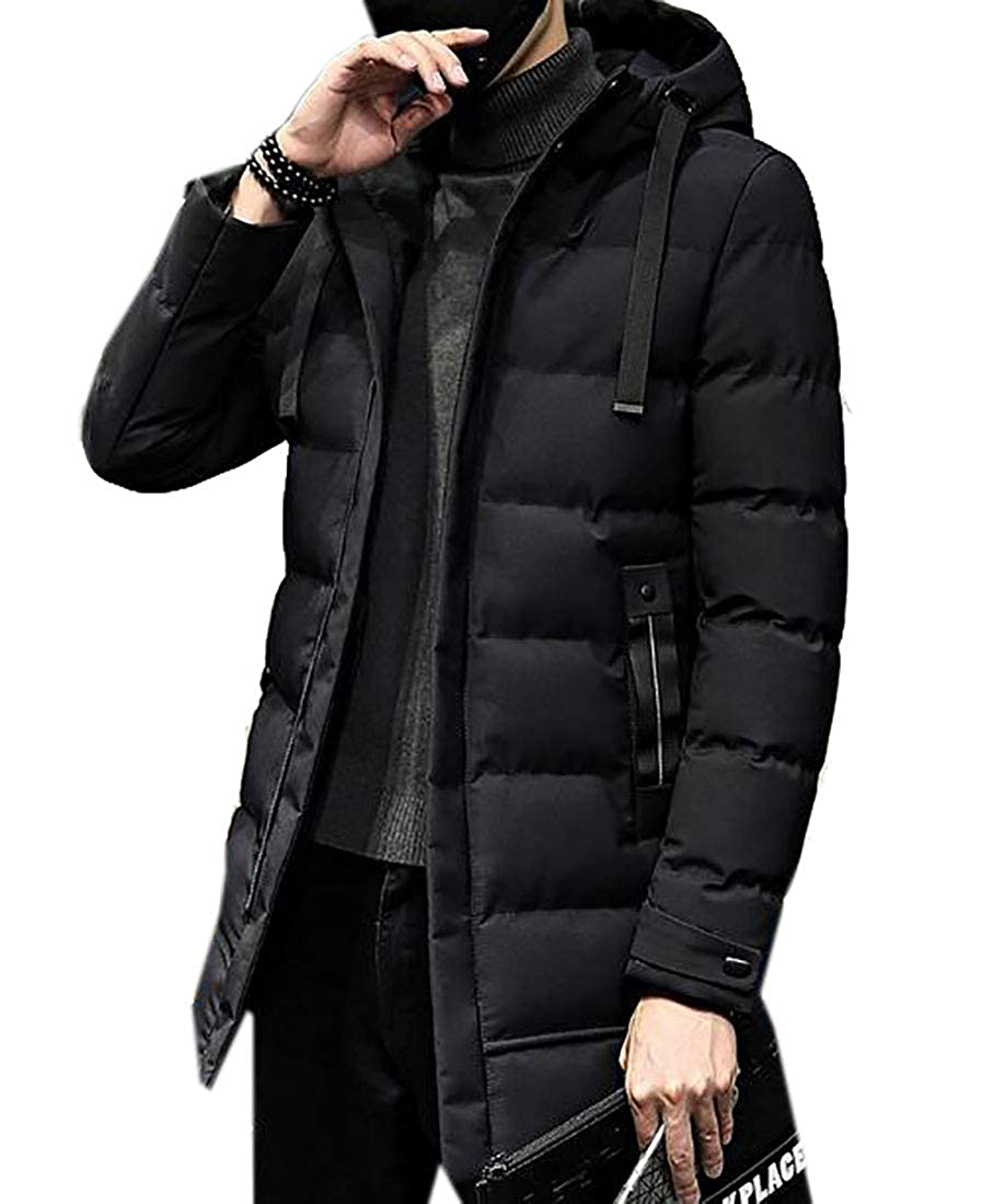 UUYUK Men Hoodie Classic Fit Mid-Long Packable Winter Warm Thick Puffy Jacket
