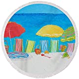 Pixels Round Beach Towel With Tassels featuring ''Beach Painting - Deck Chairs'' by Jan Matson