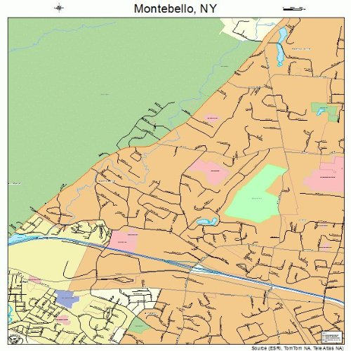 Large Street & Road Map of Montebello, New York NY - Printed poster size wall atlas of your home - Montebello Town