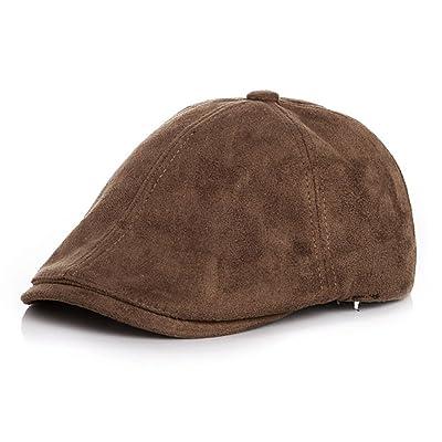 LOCOMO Age 2-5 Boy Girl Cute Plain Color Faux Leather Suede Flat Cap FBH032KAK