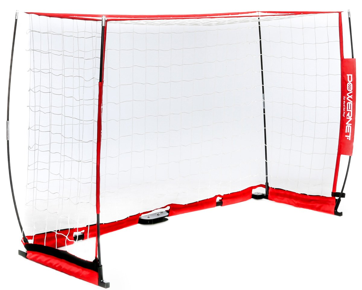 PowerNet Futsal Goal 3m x 2m | Regulation Goal Size | Portable Instant Net | Collapsible Steel Base | Durable Bow Vertical Posts | Quick Setup Easy Storage | 1 Goal+1 Zipper Carrying Bag | Full Size