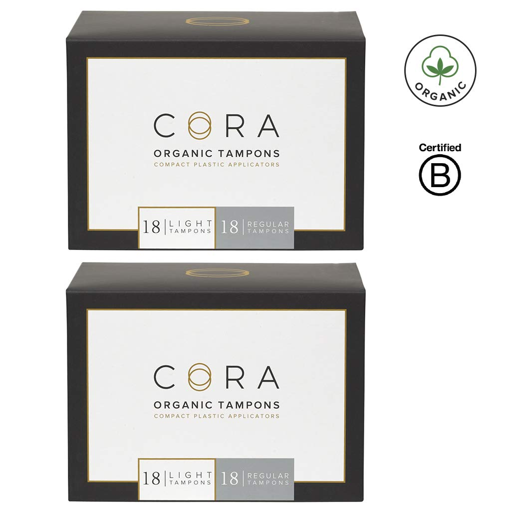 Cora Organic Cotton Tampons with BPA-Free Plastic Compact Applicator; Chlorine & Toxin Free - Variety Pack - Light/Regular (72 Count) (Packaging May Vary) by Cora