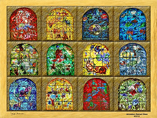The Gallery Wrap Store Marc Chagall's Jerusalem Windows Stained Glass Art Print On Premium Canvas for Wall Decor Or for Gifting 20x16 Inches - Made in The U.S.A Chagall Stained Glass Windows
