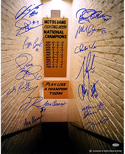 Notre Dame Greats 15 Signature Notre Dame Locker Room Tunnel w/Play Like a Champion Sign Vertical 16x20 Photo