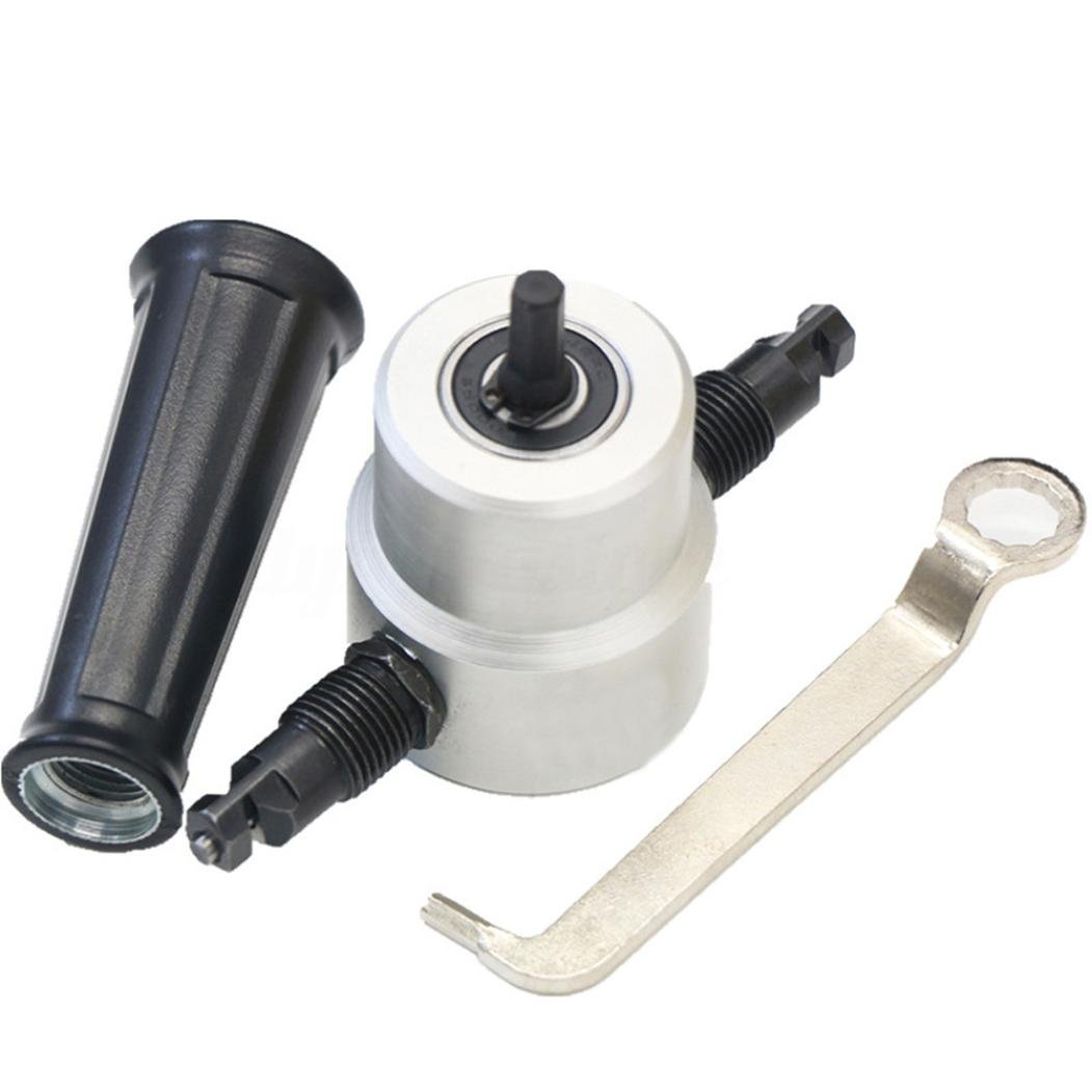 SUKEQ Silver Tone Black Adjustable Double Head Sheet Nibbler Metal Cutter Drill Attachment