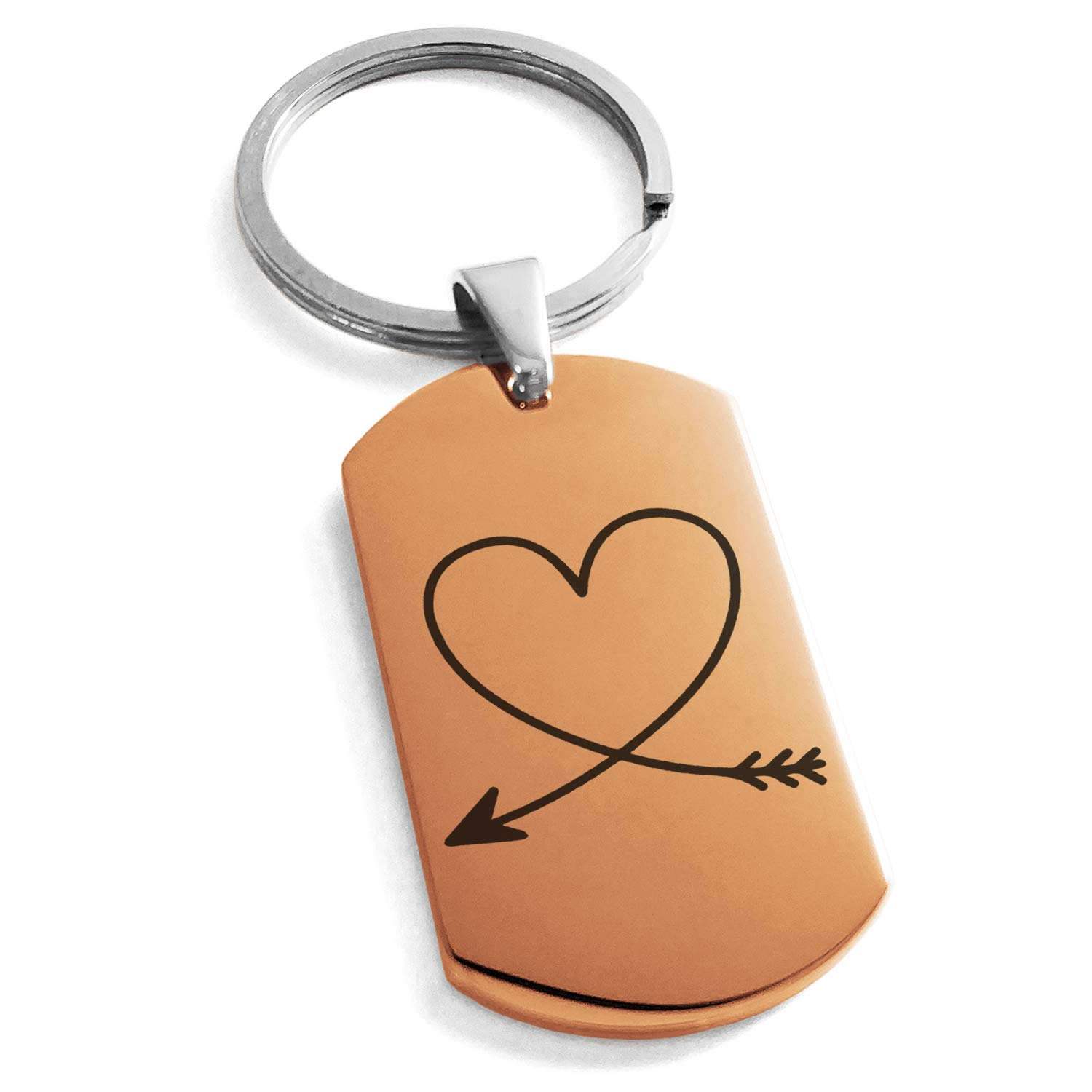 Tioneer Rose Gold Stainless Steel Heart Love Arrow Engraved Dog Tag Keychain Keyring