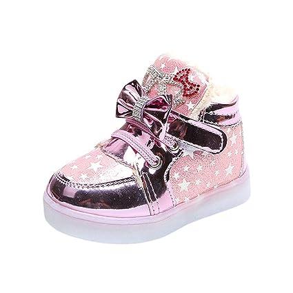 ZHRUI Rebajas de liquidación Niños Niños Niñas Estrella Bowknot Malla de Cristal Luminoso LED Zapatillas de