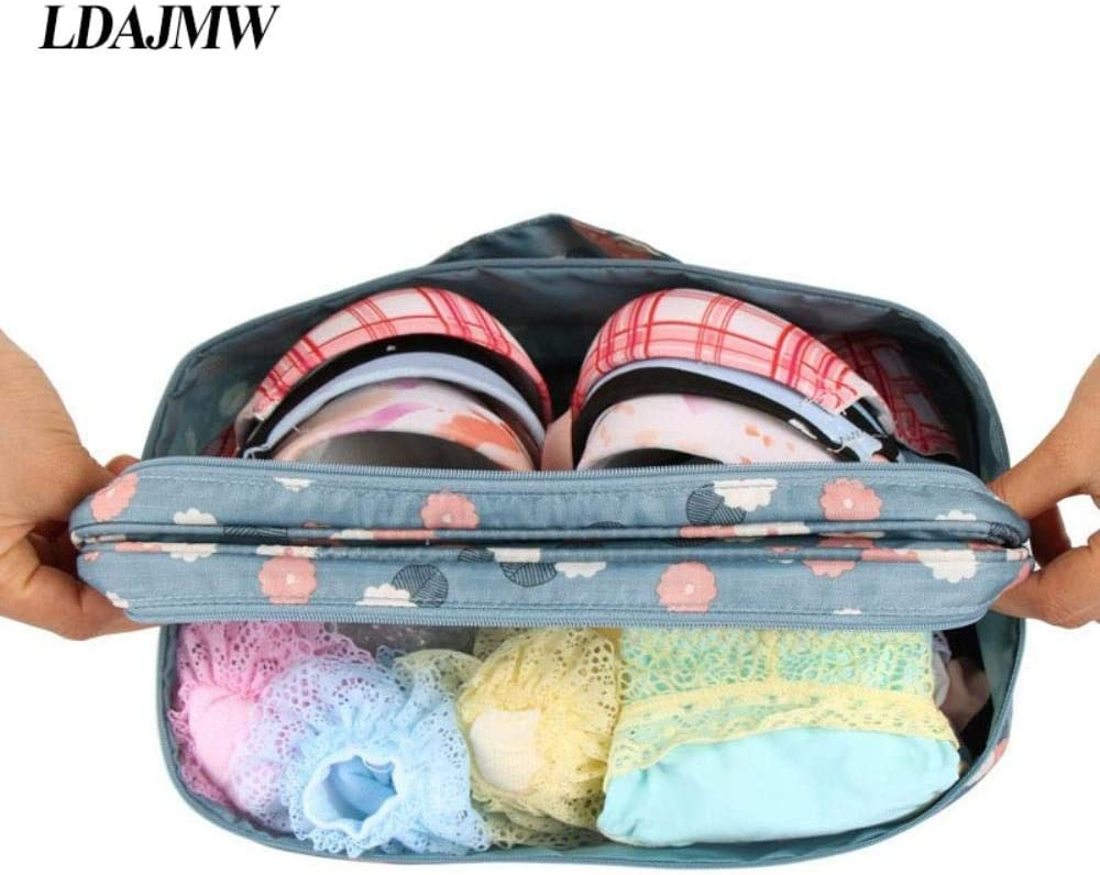 PomPomHome Type Double Travel Bra Underwear Socks Finishing Storage Bag Multifunctional Clothes Organizers Oxford Luggage Container Navy Dot