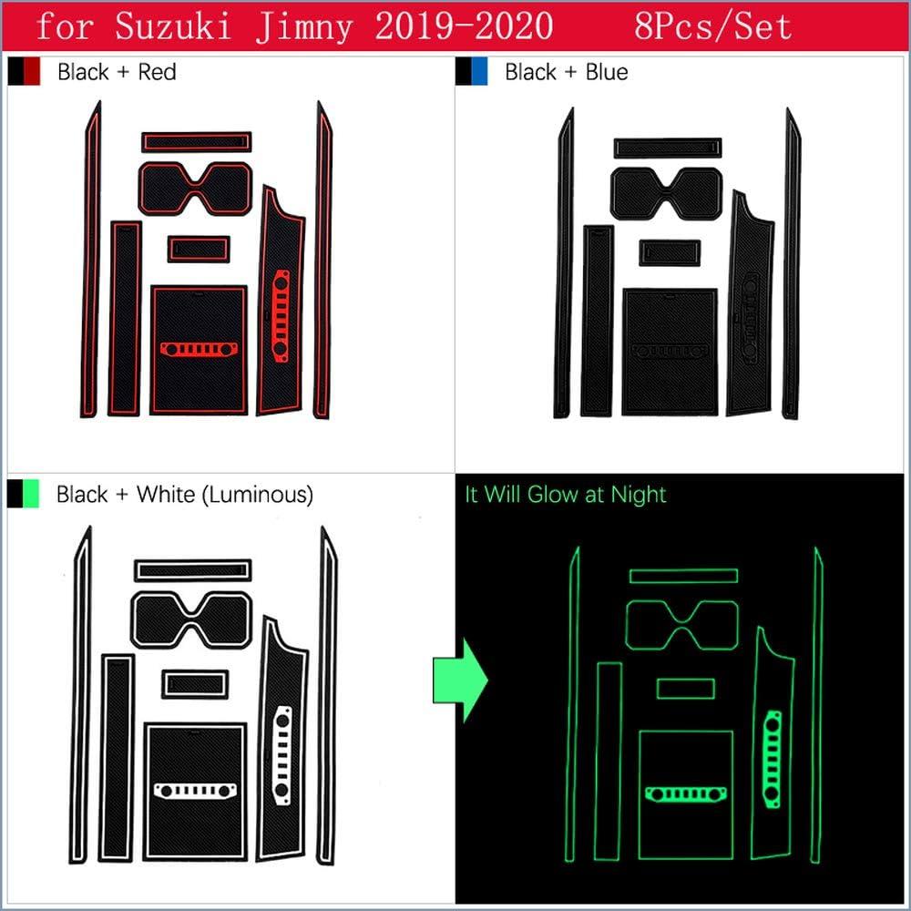 XHULIWQ Tapis Anti-d/érapant de Porte de Voiture pour Suzuki Jimny 2019 2020 Accessoires dint/érieur de Voiture de bo/îte de Rangement de Tasse deau