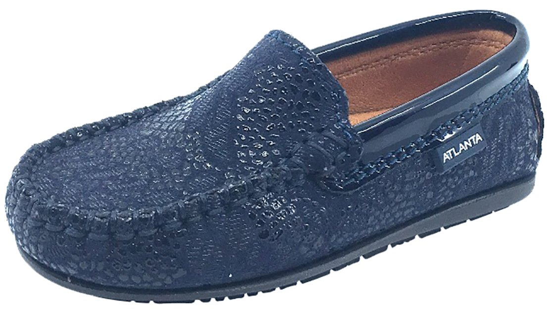 Atlanta Mocassin Girl's & Boy's Navy Pebble Printed Leather With Patent Trim Slip On Moccasin Loafer Shoe 30 M EU/13 M US Little Kid