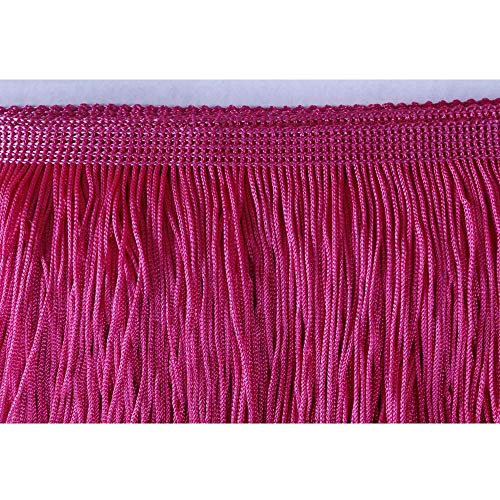 Heartwish268 Fringe Trim Lace Polyerter Fibre Tassel 4inch Wide 10 Yards Long for Clothes Accessories Latin Wedding Dress DIY Lamp Shade Decoration Black (Rose Pink)
