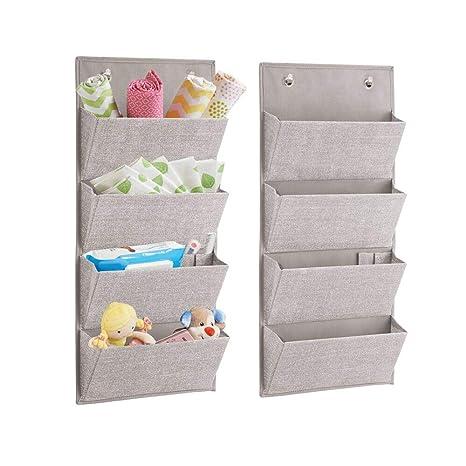 mDesign Juego de dos organizador cajones colgante – Sistema de almacenamiento con 4 compartimentos para pañales