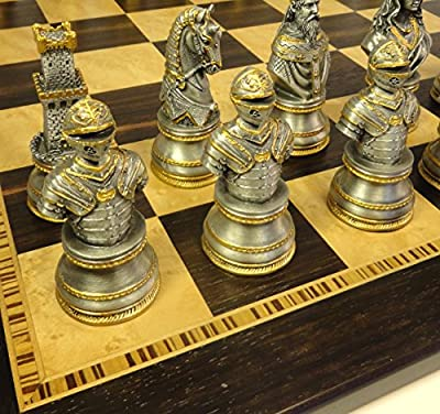 "Medieval Times Large Crusades Knight Metal Busts Chess Men Set Gold and Pewter Color W/ 20"" Ebony & Birdseye Maple Board"
