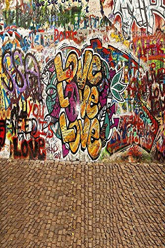 GladsBuy Loving Graffiti 8' x 12' Digital Printed Photography Backdrop Graffiti Theme Background YHA-236 by GladsBuy