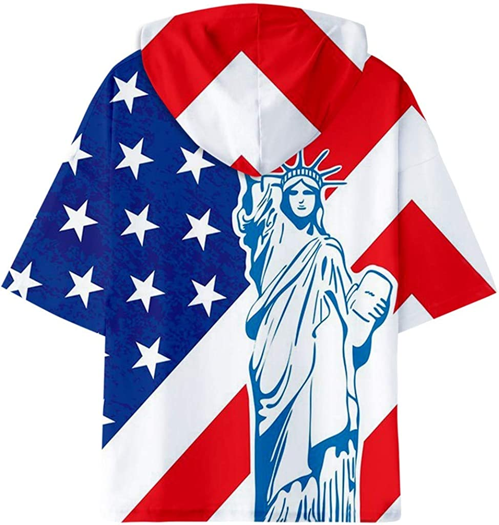 Hooded Shirt for Men F/_Gotal Mens T-Shirts Fashion Summer Short Sleeve American Flag Cool Eagle Hooded Blouse Tops