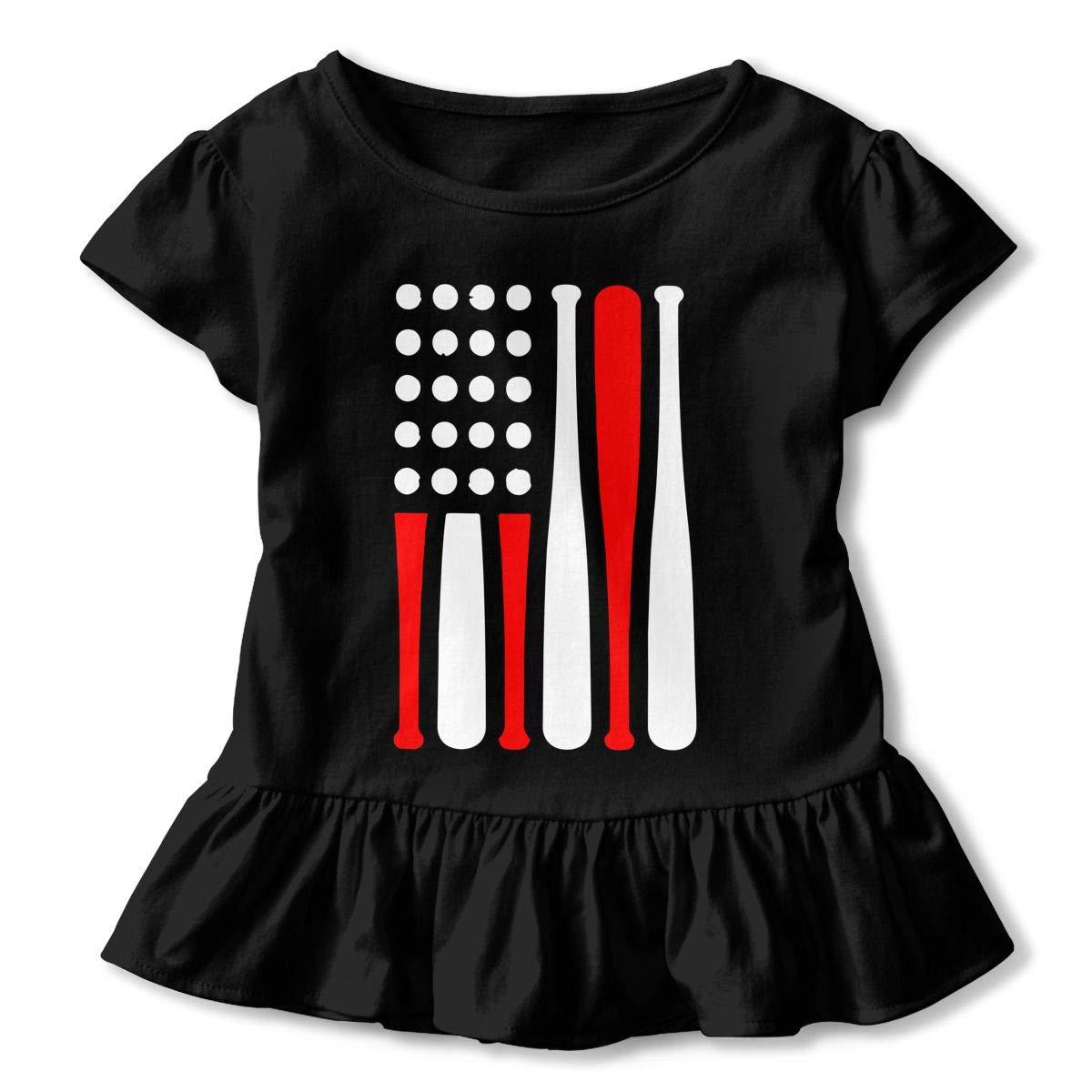 Baseball American USA Flag Kids Girls Short Sleeve T-Shirts Ruffles Shirt Tee for 2-6T