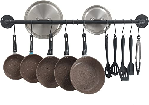 Copper 1 Pack 37 inch Wall Mounted Hanging Pot Rack Greenstell Pot Rack with 14 S Hooks Multi Functional Wall Mounted Organizer Rack Industrial Pipe Hanging Rail for Kitchen Pot /& Pan Lids