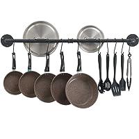 Oropy 39 inch Pot Bar Rack Wall Mounted Detachable Pans Hanging Rail Kitchen Lids Utensils Hanger with 14 S Hooks Black