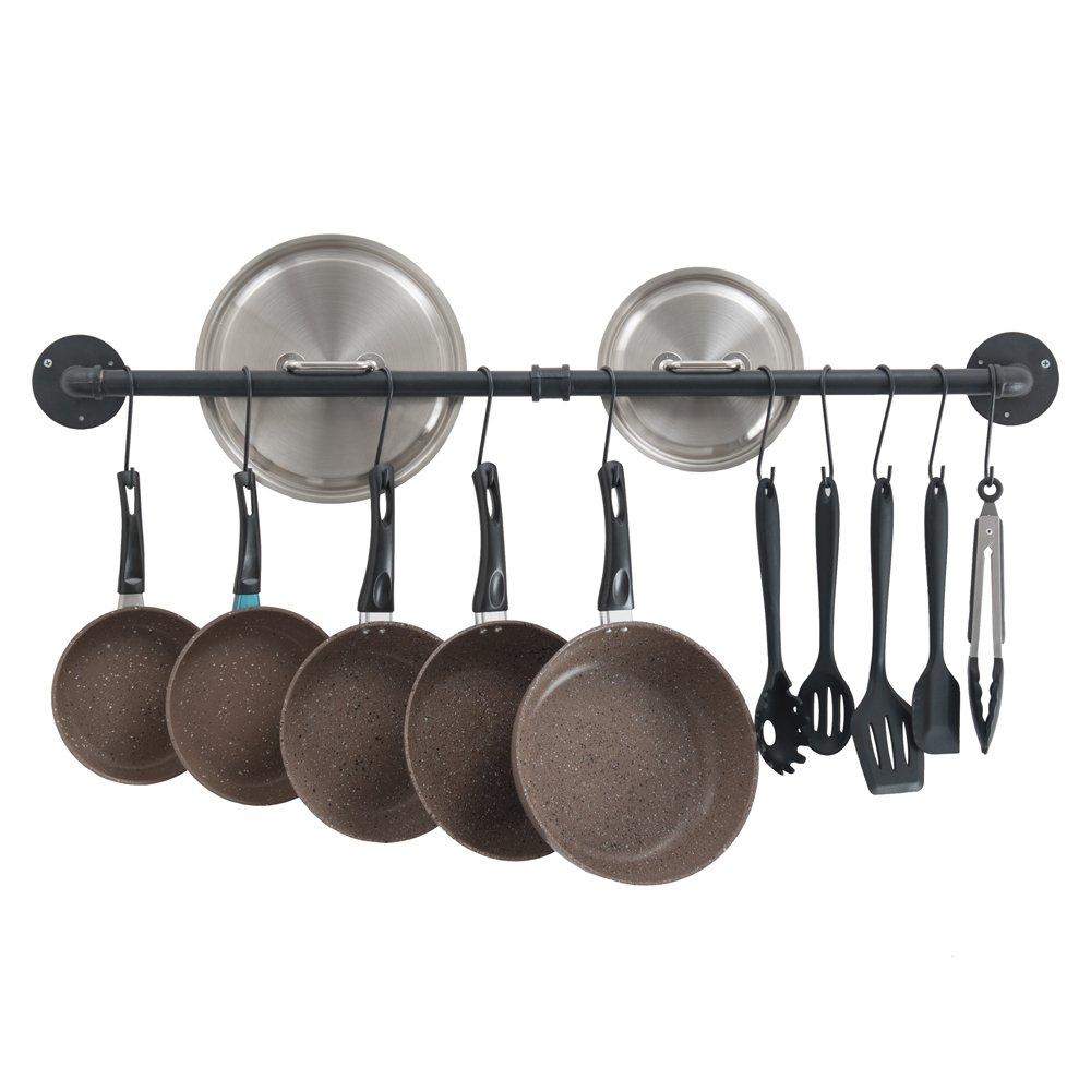 Oropy 39'' Hanging Pot Bar Rack Wall Mount Lid Holder Detachable Rail Kitchen Utensils Hanger with 14 S Hooks Black
