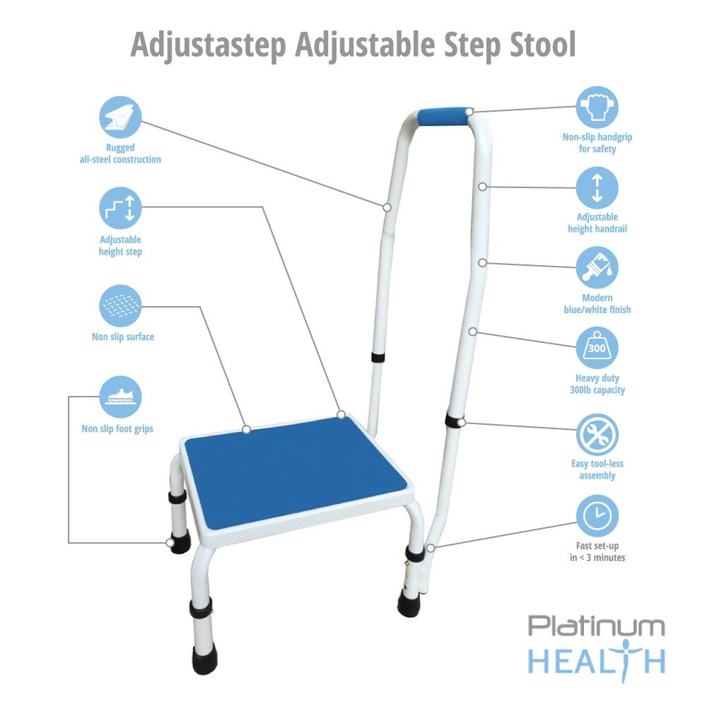 Lovely Amazon.com: AdjustaStep(tm) Deluxe Step Stool/Footstool With  Handle/Handrail, Height Adjustable. 2 Products In 1. Modern White/blue  Design. New For 2016.