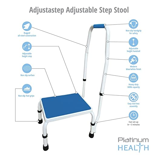 Delicieux Amazon.com: AdjustaStep(tm) Deluxe Step Stool/Footstool With  Handle/Handrail, Height Adjustable. 2 Products In 1. Modern White/blue  Design. New For 2016.