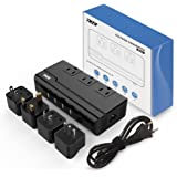Voltage Converter 220V to 110V With 4 USB Ports [5V/2.1A Each] THZY International Travel Adapter with 3 AC Outlets and UK/AU/US/EU/Italy Worldwide Plug Adapter–(Use for US Appliances Overseas)
