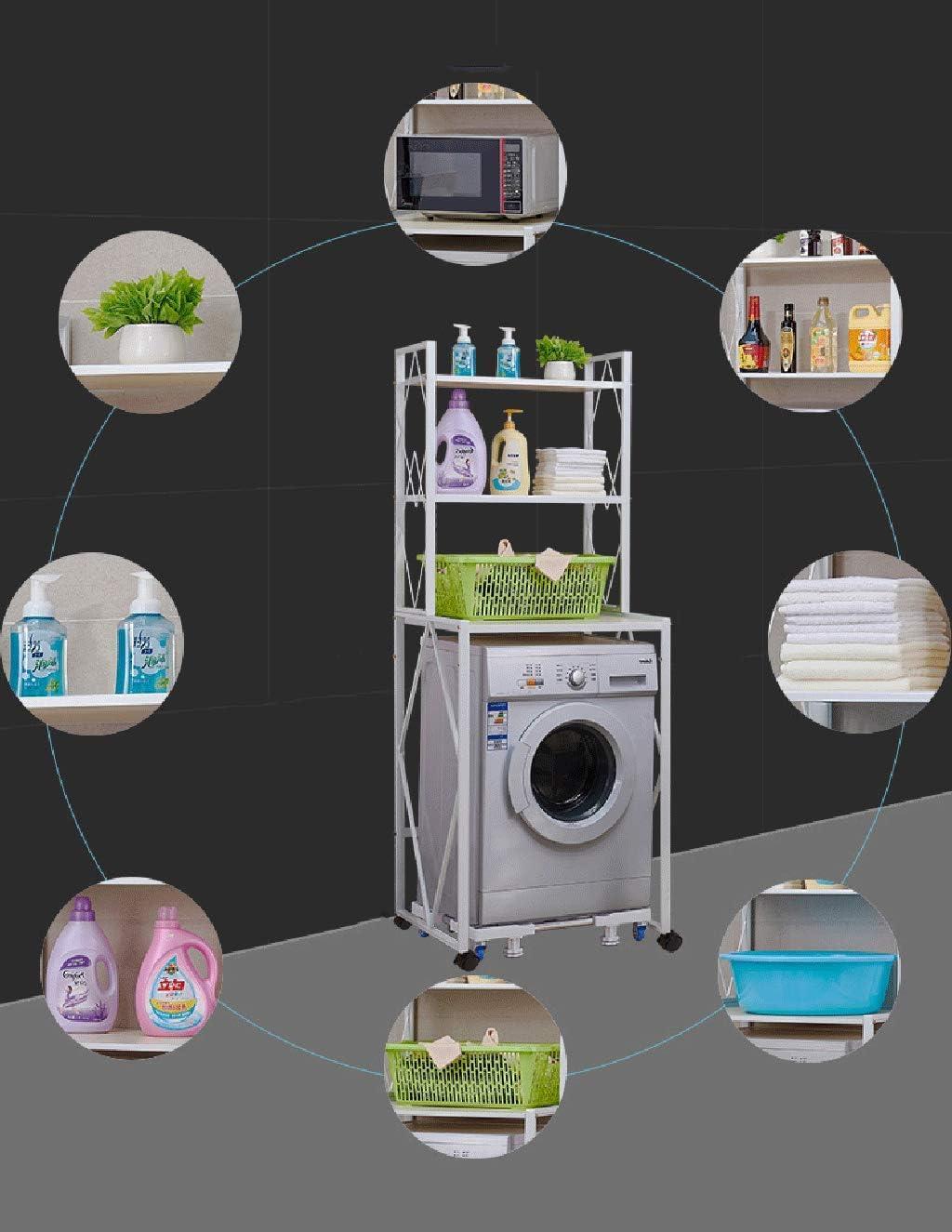 Estante Estante de la lavadora de 3 capas L70cm /× W58cm /× H185cm Caja de almac estante m/óvil multifuncional de la lavadora blanco a prueba de /óxido del hierro tr/ípode universal montado en el piso