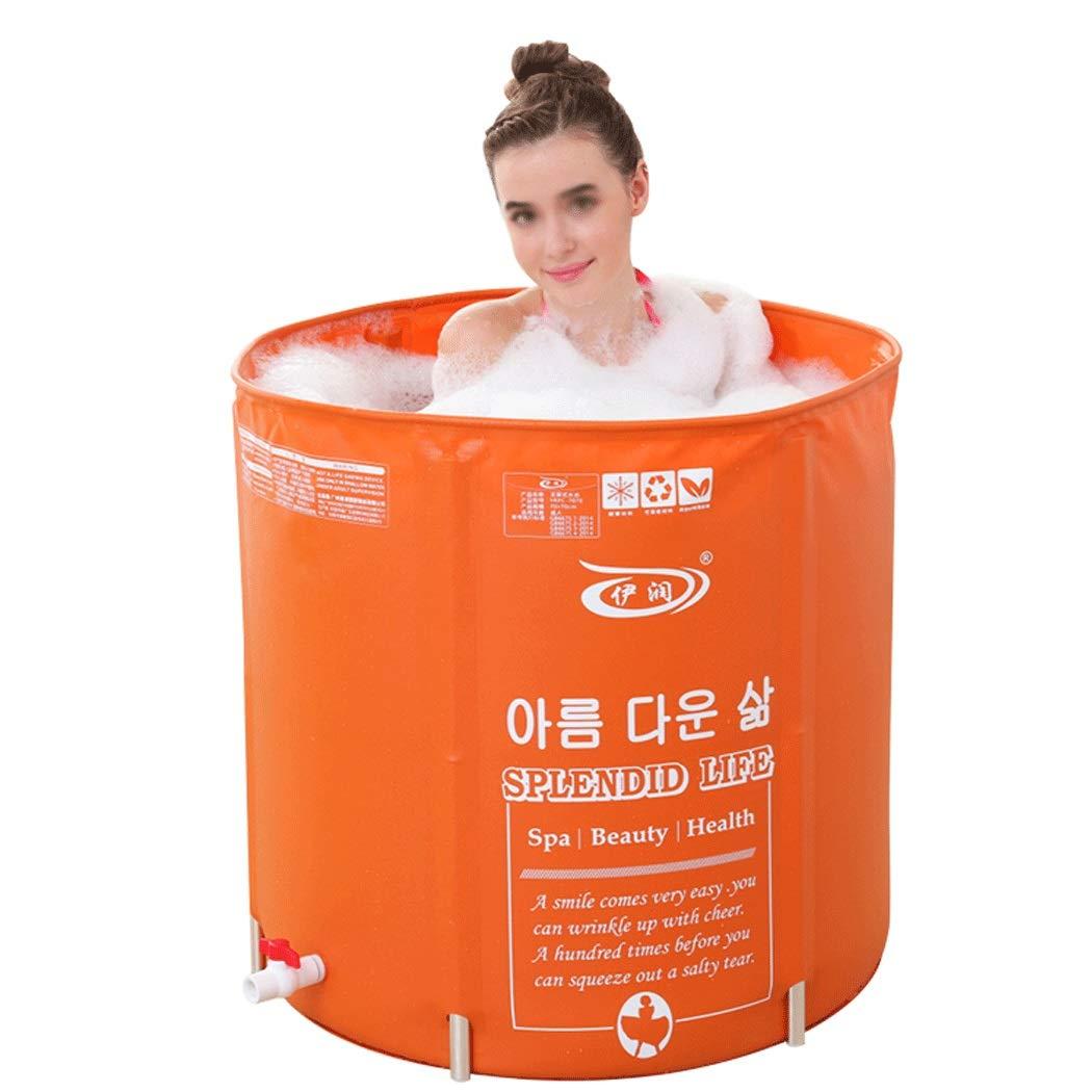 YONGYONG Orange Folding Bath Tub Adult Tub Free Inflatable Bathtub PVC Thickening Bath Tub 70cm*70cm