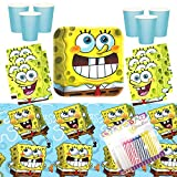 Sponge Bob Classic Party Supplies Pack Serves 16: Dinner Plates Luncheon Napkins Cups and Table Cover with Birthday Candles (Bundles for 16)