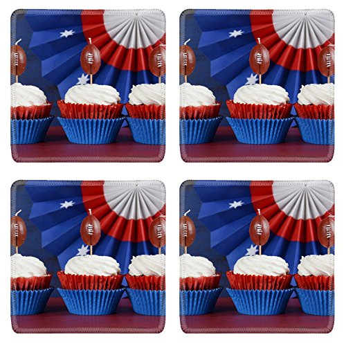 Funnies Sunday Kids Desk (MSD Square Coasters Non-Slip Natural Rubber Desk Coasters design: 35239476 Red white and blue theme cupcakes with football toppers for Super Bowl Sunday party or collage football f)