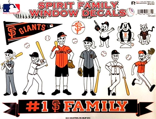 Rico Industries, Inc. San Francisco Giants Family Spirit Decal Sheet Glass Window Stickers Auto Decals Baseball