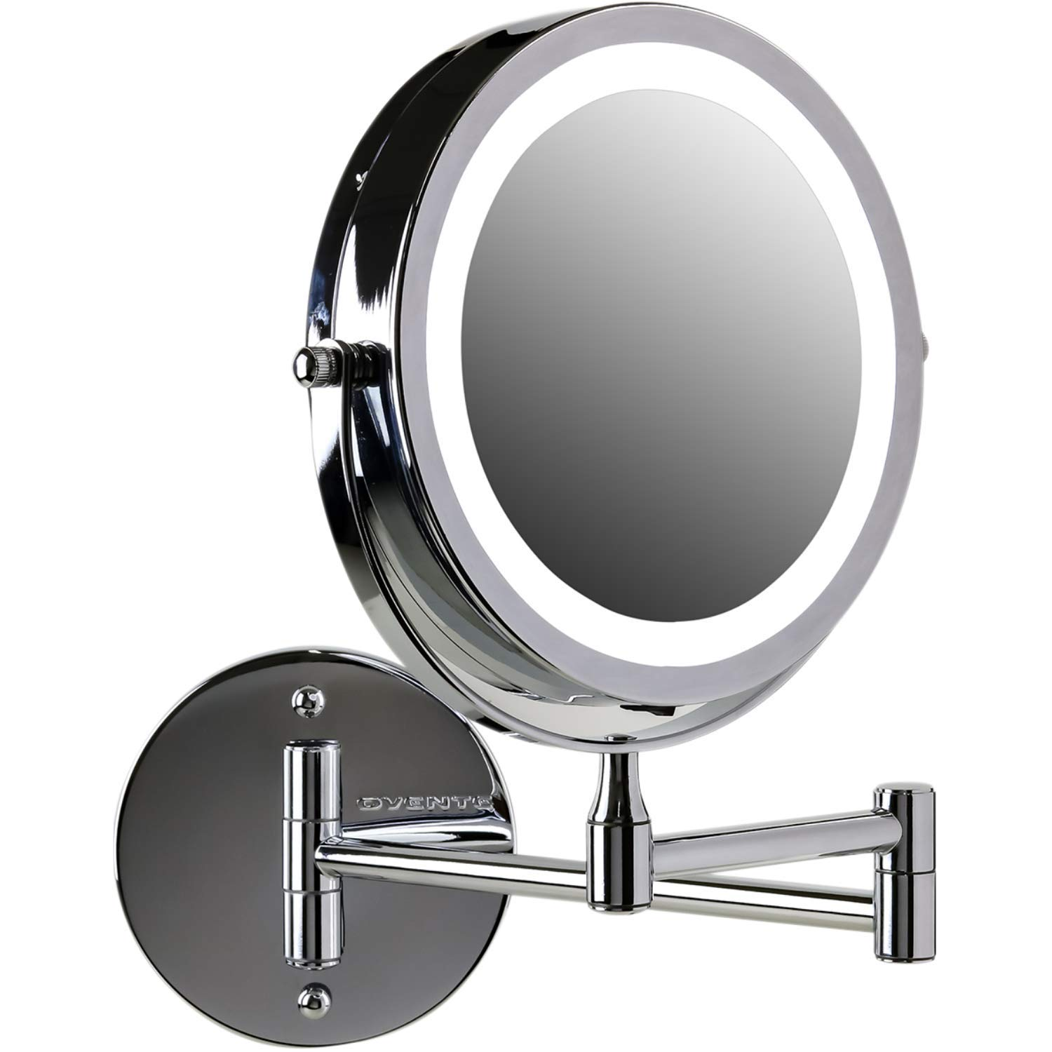"OVENTE Wall Mount LED Lighted Makeup Mirror, Battery Operated, 1x/10x Magnification, 7"", Polished Chrome (MFW70CH1x10x)"