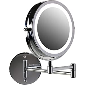 """OVENTE Wall Mount LED Lighted Makeup Mirror, Battery Operated, 1x/10x Magnification, 7"""", Polished Chrome (MFW70CH1x10x)"""