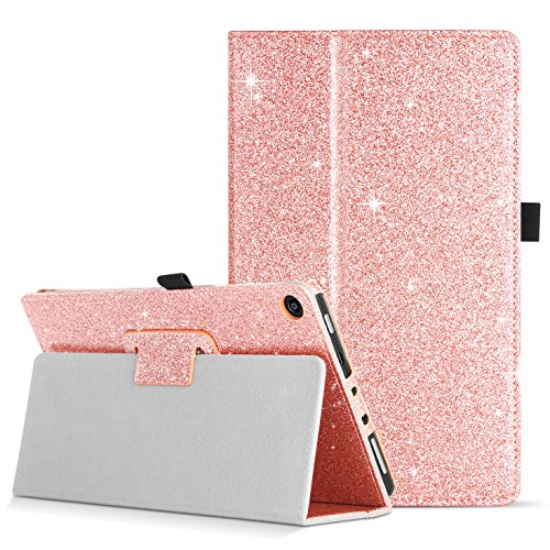 DOMAVER Case for Fire HD 8 (2017 and 2016 Release,7th/6th Generation) Premium Leather Magnetic Sleep/Wake+Stylus Holder Glitter Protective Slim Folio FlipSmart Cover Case for Fire HD 8, Rose Gold by DOMAVER