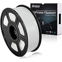 SUNLU 3D Printer Filament PLA Plus White(More Like Transparent), PLA Plus Filament 1.75 mm, Low Odor Dimensional Accuracy +/- 0.02 mm, 2.2 LBS (1KG) Spool, White(More Like Transparent)