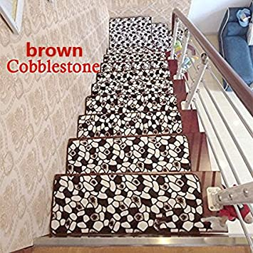 13pcs Soft Rectangle Stair Treads Carpet Floral Mat Indoor Rug 4 Size Color:Brown Cobblestone Size:20X60cm Ainest