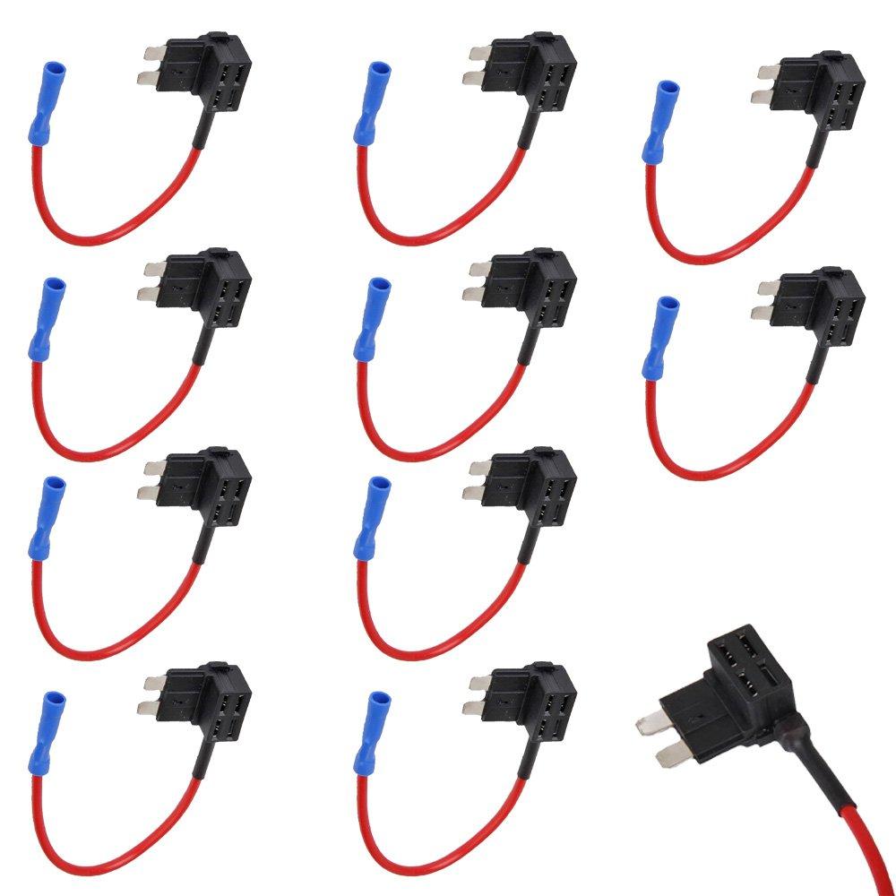 HOUTBY™ 10Pcs auto 12v 24v aggiungere un adattatore TAP fusibile di stile portafusibile fusibile del circuito ACN