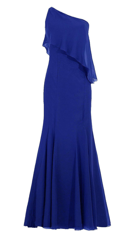 Poplargirl Women's One-Shoulder Chiffon Prom evening Bridesmaid Dress