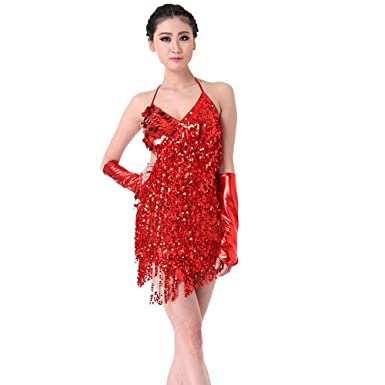 Blingstory Two Pieces Sparkling Fringe Salsa Skating Ballroom Tassel Sequins Latin Dance Dress (Red,