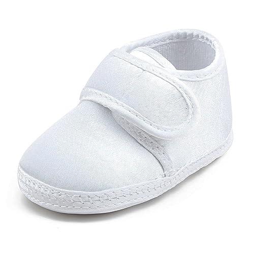 DELEBAO Zapatos Bebé Niña Zapatillas para Bebes Primeros Pasos Blancos Zapatos Bebe Bautizo Suela Blanda: Amazon.es: Zapatos y complementos