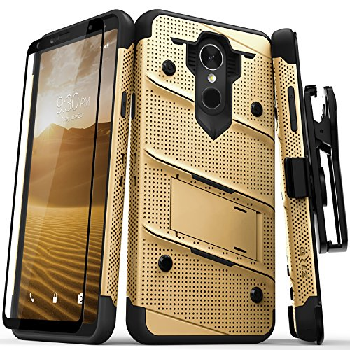 Zizo Bolt Series Compatible with LG Stylo 4 Case Military Grade Drop Tested with Tempered Glass Screen Protector, Holster, Kickstand Gold Black