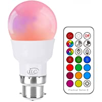 iLC LED Light Bulbs Colour Changing Dimmable 3W B22 Bayonet A60 RGBW Lights, RGB White Coloured- Dual Memory - 12 Color Choices - 20 Watt Equivalent - Remote Controller Included