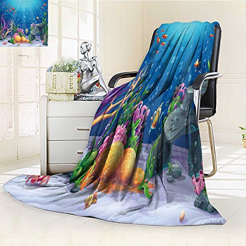 Decorative Throw Blanket Ultra-Plush Comfort Marine Life Landscape The Ocean and Underwater World with Different inhabitants Soft, Colorful, Oversized | Home, Couch, Outdoor, Travel Use(60
