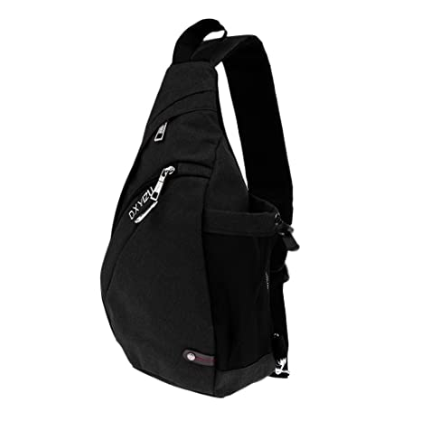2a28f78394d0 Segolike Canvas Sling Crossbody Travel Backpack with USB Charging Port  (Black)  Amazon.in  Bags