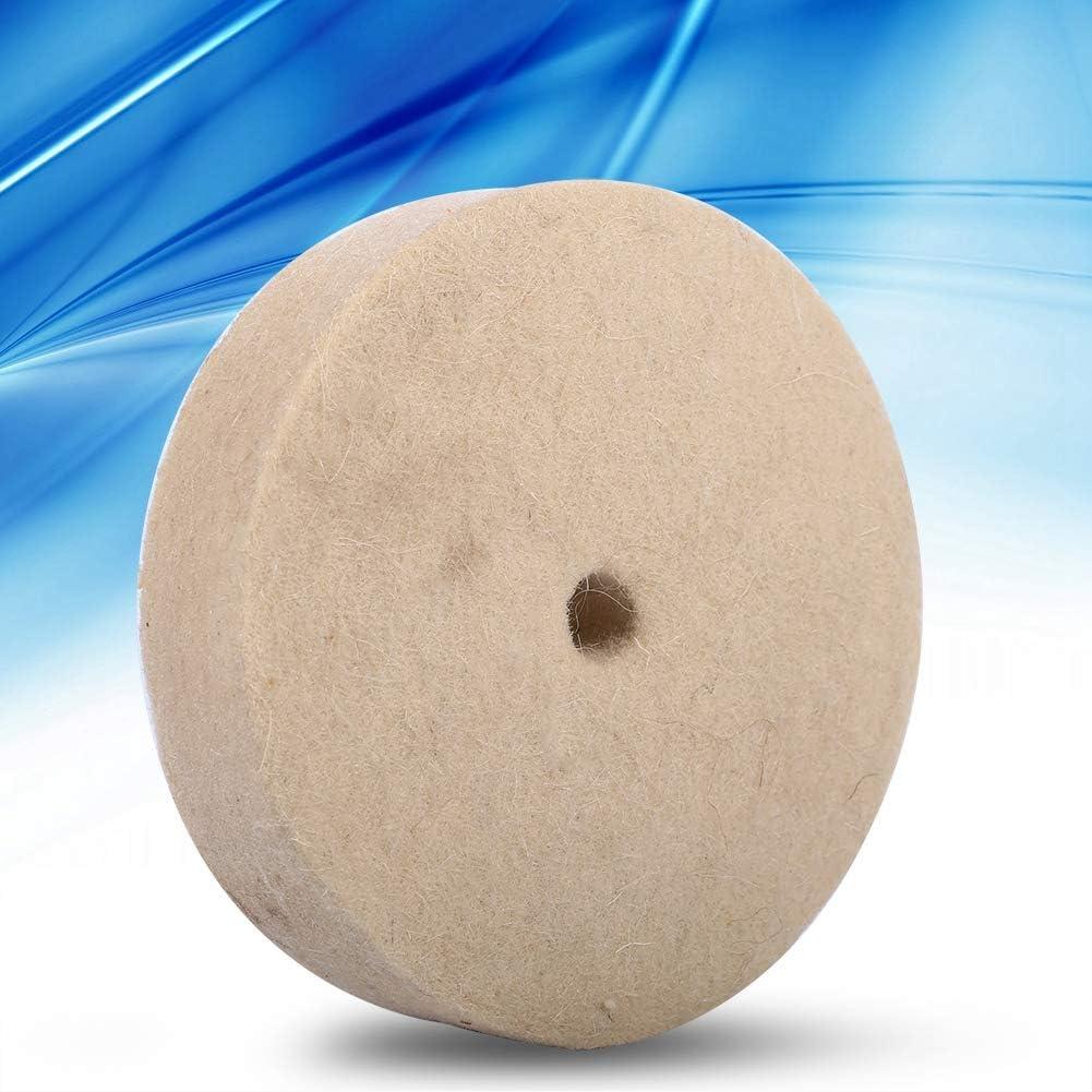 Jadpes Schleifen Runde Wollscheibe 100x25mm 4 Zoll Beige Polieren Polieren Schleifen Runde Rad Wolle Weiche Polierscheibe Filzpolierscheibe Pad f/ür Metallform Polieren