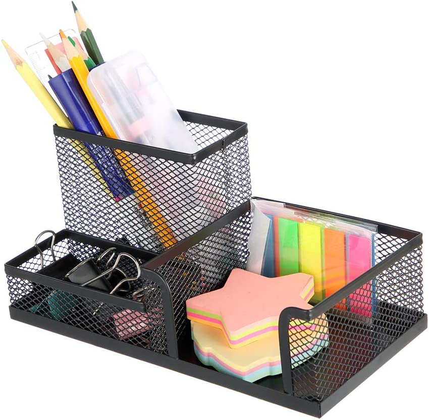 MOYOOA Pen Holder Mesh Pencil Holder Metal Pencil Holders Pen Organizer Black for Desk Office Pencil Holders : Office Products