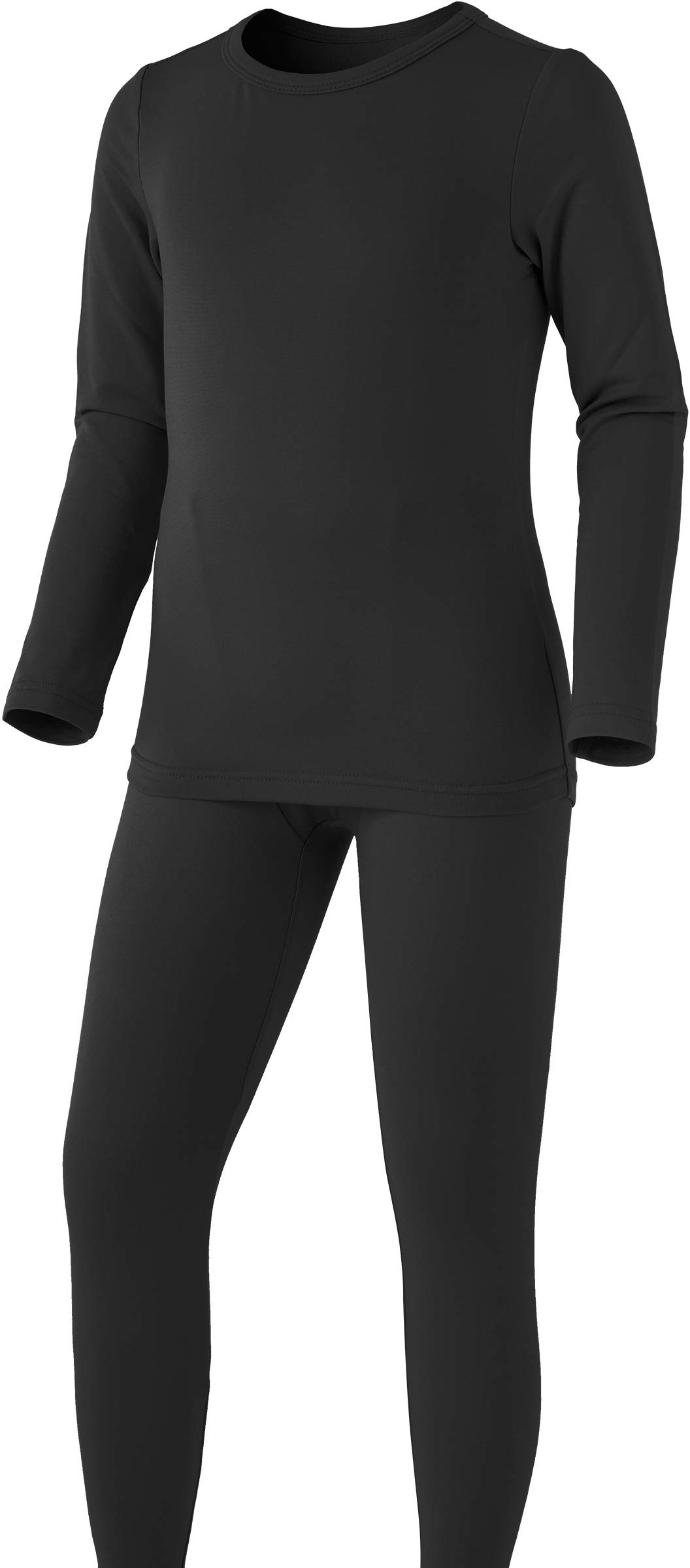 TSLA Boy's Microfiber Soft Fleece Lined Warm Thermal Top & Bottom Set, Boy Set(khs300) - Black, Small (Height 4ft2in - 4ft5in) by TSLA