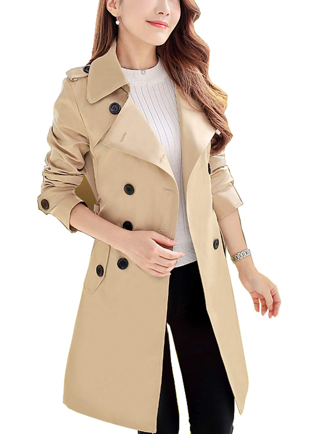 FARVALUE Women's Double Breasted Trench Coat Classic Belted Lapel Overcoat Khaki X-Large by FARVALUE