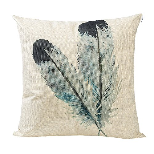 Happytimelol 18 x 18 Cotton Linen Throw Pillow Case Cover (3D Feather Style 2)